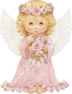 Cute Cherub with Roses Clipart