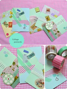 Washi tape collage postcards