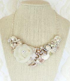 Blush Bridal NecklaceChampagne Pink Wedding Hollywood Glamour