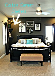 Master bedroom- omg I love the corner shelf