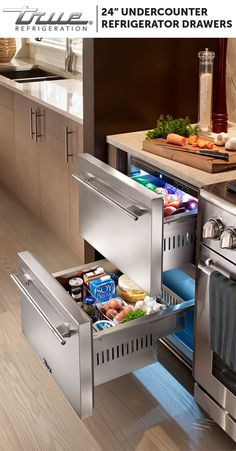 Undercounter Refrigerator Drawers are the ideal addition to your home, both indoor and out. They don't simply provide extra storage—they also help organize the way you use your kitchen. Drawers next to the arrange allow all ingredients for tonight's dinner at your fingertips.