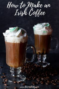 My Irish Coffee Recipe will walk you through how to make one of these traditional, easy, whiskey based warm drink. Ideas and suggestions for making this vegan and keto are included as well as some history about this cocktail. Drinks Alcohol Recipes, Tea Recipes, Coffee Recipes, Cocktail Recipes, Alcoholic Drinks, Beverages, Drink Recipes, Slow Cooker Desserts, Coffee Uses