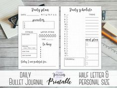 Bullet journal daily printable - pre made bullet journal, daily planner, dot grid planner, half letter, personal size planner pages