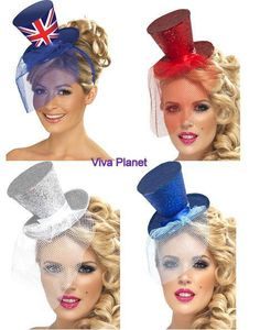 Fever Jubilee Party Mini Top Hat Red Silver Blue British Union Jack with Veil | eBay
