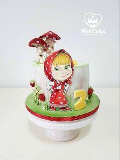 Cakes Without Fondant, Fondant Cakes, Cupcake Cakes, Buttercream Birthday Cake, Baby Birthday Cakes, Masha Cake, Masha Et Mishka, Cupcakes Flores, Masha And The Bear
