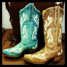 Corral Cortez Cowgirl Boots in Turquoise and Honey at rivertrailmercantile.com!