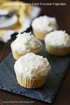 Gluten Free Lemon Curd Coconut Cupcakes found at http://www.fearlessdining.com