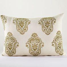 Green Block Print Lumbar Throw Pillow | World Market