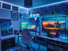 Best Gaming Setup, Gamer Setup, Gaming Room Setup, Pc Setup, Gaming Chair, Bedroom Setup, Room Ideas Bedroom, Blue Bedroom, Girls Bedroom