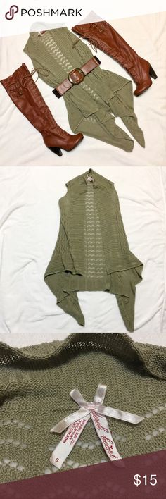 Crochet Sleeveless Cardigan Vest Derek Heart crochet sleeveless cardigan vest, there is a pulled thread in the front but otherwise in like new condition, only worn once! Derek Heart Sweaters Cardigans