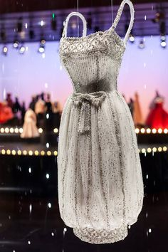 Christian Dior by Yves Saint Laurent - Armide dress, Autumn-Winter 1959-1960. Short evening dress in white tulle with silver sequins. (Displayed at Harrods)