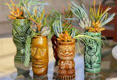 Tiki mug mini planters. Nat's idea of an awesome garden. Vintage Tiki, Vintage Hawaii, Kitsch, Tiki Art, Tiki Tiki, Tiki Decor, Hawaiian Decor, Tiki Lounge, Tiki Room