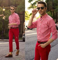 Check Shirt, Red Trousers, Ray Ban Clubmasters, Giles And Brother Spike Bracelet, Oxfords