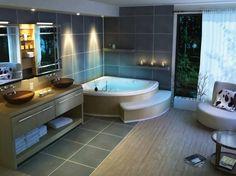 salle de bain moderne avec baignoire dangle et carreaux grand format - Salle De Bain Moderne Avec Baignoire
