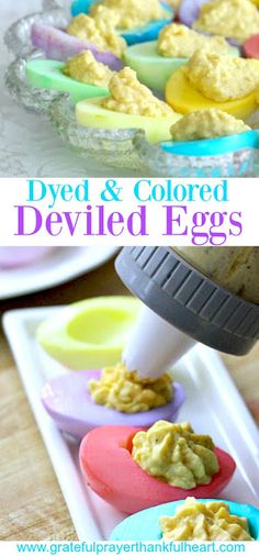 Pastel colored Deviled Eggs so pretty for Easter