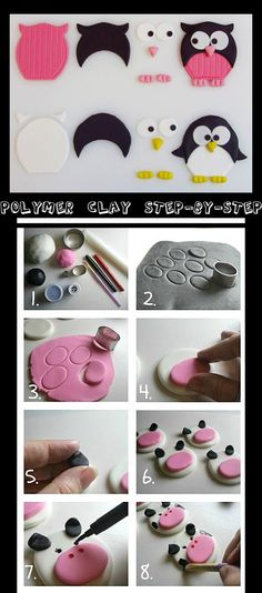Polymer Clay step by step - owl - cow
