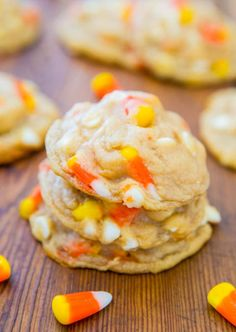 What to do with all that Halloween candy corn? Tuck some of the yellow, orange and white into a buttery cookie dough for these Candy Corn and White Chocolate Softbatch Cookies. Click through for the recipe and more Halloween cookie ideas.