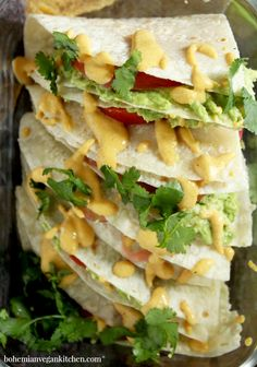 """This lunch is so easy, it will have you saying """"Yo quiero avocado quesadillas"""" faster than a talking chihuahua! A snap to pull together, plus totally customizable. Vegan Mexican Recipes, Vegan Lunch Recipes, Vegan Lunches, Vegan Dinners, Cooking Recipes, Vegetarian Mexican, Vegan Food, Food Food, Dinner Recipes"""