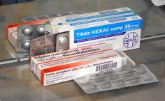 Verschiedene Tilidin-Packungen und Blister.