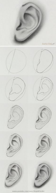the step-by-step video tutorial here: /… How to draw an ear from the side view Watch the step-by-step video tutorial here: /… How to draw an ear from the side view Cool Art Drawings, Pencil Art Drawings, Art Drawings Sketches, Realistic Drawings, Easy Drawings, Drawings Of Faces, How To Shade Drawings, Drawing Techniques, Drawing Tips