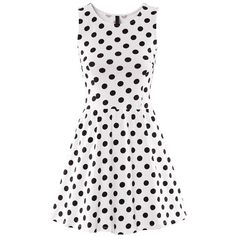 Black White Polka Dot Print Sleeveless Dress ($17) ❤ liked on Polyvore
