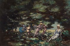AE [George Russell] (1867-1935), 'Fairies in a Wood' (detail).