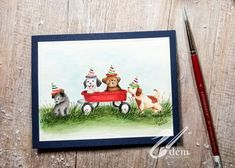 Garden Wagon, Art Impressions Stamps, Animal Projects, Winter Cards, Watercolor Cards, Cardmaking, Photo And Video, Pets, Frame