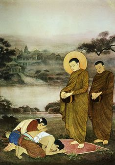 In this painting Buddha has a halo around his head signifying that he is blessed like Christians do with Holy figures. Buddha Life, Buddha Buddhism, Buddha Art, Buddhist Monk, Religious Paintings, Indian Art Paintings, Modern Art Paintings, Buddha Drawing, Buddha Painting