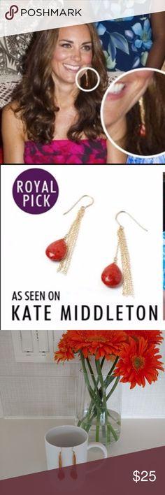 """Genuine Carnelian Silver Vermeil Gold Drop Earring Handmade Genuine Carnelian, Silver Vermeil Gold Drop Earrings in the style of """"My Flash Trash"""" earrings worn by Kate Middleton, DOC.  RepliKate. Jewelry Earrings"""