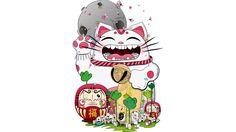 Maneki- Neko #oriental #cartoon #kids #Japanese #cat #maneki #daruma #traditional #culture #folklore #bell #goodluck #fox #scene #village #forest #smile #night #magic #fantasy #world