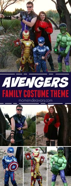 Disney Costume Easy Marvel Avengers Family Costumes Theme - dress-up as your favorite superheroes for a fun family Halloween costume theme! Costumes Avengers, Superhero Family Costumes, Disney Costumes For Kids, Superhero Halloween Costumes, Handmade Halloween Costumes, Best Couples Costumes, Halloween Kostüm, Halloween Themes, Family Super Hero Costumes