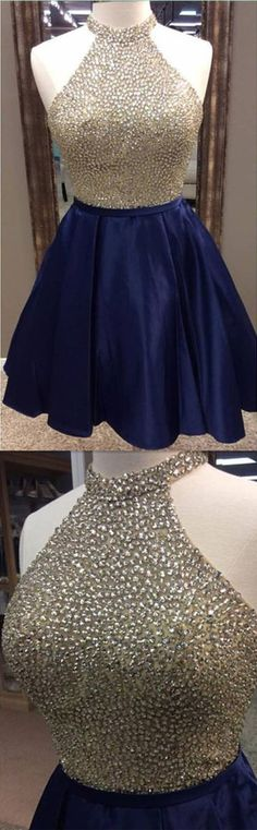 Halter Beading Homecoming Dresses,Sexy Party Dress,Charming Homecoming Dress,Graduation Dress,Homecoming Dress,Short Prom Dress