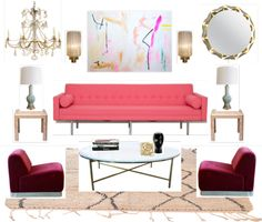 Clean - Simple layout - by Bijou and Boheme moodboard, burgundy, pink, mint Global Design, E Design, Basement Inspiration, Inspiration Boards, Interior Inspiration, Most Comfortable Office Chair, Interior Design Boards, Pink Sofa, Living Room Decor