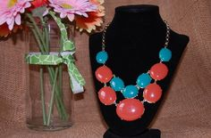 Turquoise And Coral Necklace..cute bubble necklace with a different twist.  On sale Jan. 17th at 9pm