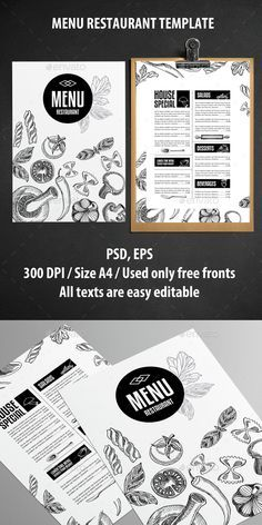 Food Restaurant Menu Template PSD, Vector EPS. Download here: http://graphicriver.net/item/food-restaurant-template/14833384?ref=ksioks