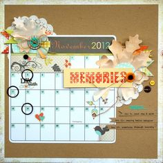 Free Friday Freebie download Nov memories calendar with Artist Edition stencil from FancyPantsDesigns.com