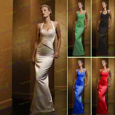 Halter Pageant Formal Ball Gown Wedding Evening Prom Party Bridesmaid Dress
