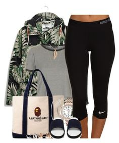 """Saturday Chills"" by oh-aurora ❤ liked on Polyvore featuring Madewell, Topshop, A BATHING APE, Michael Kors, GV2 by Gevril, Repossi, NIKE, KRISVANASSCHE and Forever 21"
