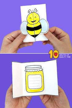 honey bee art and craft Bee Crafts For Kids, Easy Arts And Crafts, Craft Kids, Crafts To Do, Diy For Kids, Dolphin Coloring Pages, Owl Coloring Pages, Bee Cards, Rosh Hashanah