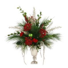 Distinctive Designs Artificial Green and Red Holiday Floral in a Pewter Urn with Deer Head Handles Christmas Flower Arrangements, Artificial Floral Arrangements, Christmas Flowers, Christmas Wreaths, Winter Floral Arrangements, Easy Holiday Decorations, Holiday Centerpieces, Altar Flowers, Church Flowers