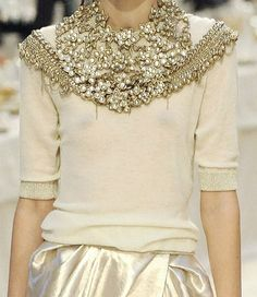 ~*❥*~ nude sweater top bejeweled and beaded and satin skirt