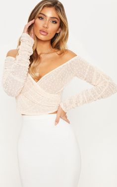 Nude Dobby Mesh Ruched Sleeve Bardot Crop Top 4c063506e