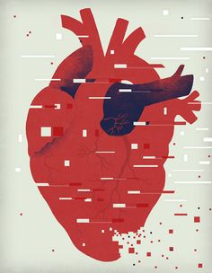 Illustration by Chris Silas Neal from an article about the ethics and logistics of using DNA testing to cure heart conditions. Illustration Art Nouveau, American Illustration, Woodblock Print, Art Design, Graphic Design, Anatomical Heart, Human Heart, Sacred Heart, Heart Art
