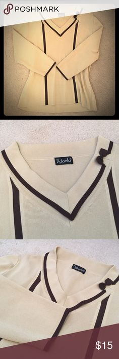 ✨3/4 Sleeve Knit Beige Top with Bow on Collar Excellent condition! Worn once, it was a gift and I just don't have the space anymore. High quality knit, practically no pilling. Beige base with brown accents on sleeves, down front, and around collar with brown bow for decoration. Perfect neutral top for fall weather! Rafaella Tops