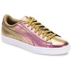 PUMA Basket Holographic Leather Sneakers (135 BAM) ❤ liked on Polyvore featuring shoes, sneakers, apparel & accessories, leather lace up sneakers, holographic shoes, puma sneakers, metallic shoes and rubber sole shoes