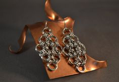 New to AthenasArmoury on Etsy: Japanese Diamond Chain Maille Earrings - Japanese 12-2 Silver (18.00 USD)