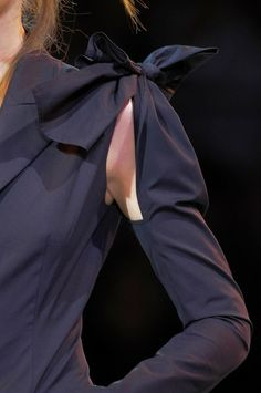 Sleeve to bodice, connecting bow feature - interesting garment details for fashion design // Yohji Yamamoto SS14