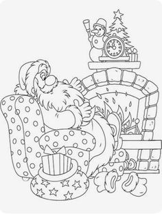 Santa at the fireplace Coloring Book Art, Free Coloring Pages, Coloring For Kids, Unicornios Wallpaper, Christmas Coloring Sheets, Embroidery Patterns, Hand Embroidery, Thanksgiving Crafts For Kids, Outline Drawings