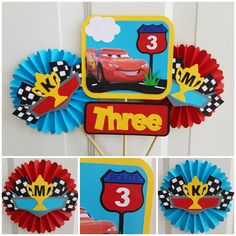 22 Ideas Disney Cars Decorations Etsy For 2019 Disney Cars Birthday, Cars Birthday Parties, 3rd Birthday, Car Centerpieces, Cool Car Stickers, Preppy Car Accessories, Super Fast Cars, Lightening Mcqueen, Cars Characters