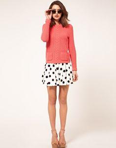 Enlarge River Island Cream Spot Skater Skirt
